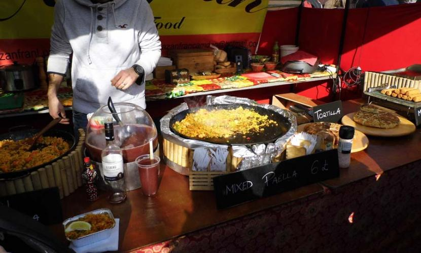 Paella stall in the market near Camden Lock